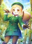 1girl :d axe beret blonde_hair blue_sky blush cannan clouds day fate/grand_order fate_(series) forest gloves green_hat green_jacket hat highres jacket leaf looking_at_viewer nature official_art open_mouth outdoors over_shoulder pantyhose paul_bunyan_(fate/grand_order) pocket short_hair sky smile standing yellow_eyes