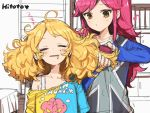 2girls ahoge aikatsu! aikatsu!_(series) bed blonde_hair bra_strap brown_eyes closed_eyes commentary_request curly_hair drooling eighth_note hair_brush hair_brushing hair_down hitoto indoors long_hair messy_hair multiple_girls musical_note off_shoulder open_mouth otoshiro_seira partially_colored redhead room saegusa_kii shelf shirt sketch sleepy t-shirt unfinished upper_body whistling zzz