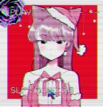 1girl animal_ears black_eyes black_hair box cat_ears christmas earrings gift gift_box jewelry komi-san_wa_komyushou_desu komi_shouko kumaartsu long_hair looking_back nannachi santa_costume vaporwave