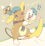alolan_form alolan_raichu blue_eyes blue_hat blue_neckwear brown_scarf character_request clothed_pokemon commentary_request creatures_(company) fang game_freak gen_1_pokemon gen_6_pokemon gen_7_pokemon hat hideko_(l33l3b) highres holding looking_at_viewer neckerchief nintendo open_mouth plaid_neckwear pokemon pokemon_(creature) pokemon_(game) pokemon_sm raichu scarf standing standing_on_one_leg tears