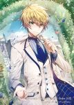 1boy arthur_pendragon_(fate) blue_neckwear blue_sky castle clouds company_name fate/grand_order fate_(series) floral_arch flower formal green_eyes hair_between_eyes holding holding_flower male_focus mura_karuki necktie official_art pants petals sky solo standing suit sunlight vest white_pants white_suit