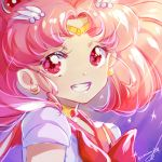 1girl bishoujo_senshi_sailor_moon bow bowtie circlet crescent crescent_earrings earrings floating_hair grin jewelry kaminary long_hair looking_at_viewer pink_hair portrait red_bow red_eyes red_neckwear red_sailor_collar sailor_chibi_moon sailor_collar sailor_senshi_uniform signature smile solo