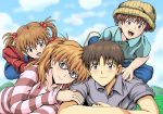 2boys 2girls :d amai_yadoraki blue_eyes blue_pants blue_sky blush brown_hair brown_hat collarbone day glasses grey_shirt hair_bobbles hair_ornament hat ikari_shinji long_hair long_sleeves looking_at_viewer lying multiple_boys multiple_girls neon_genesis_evangelion older on_stomach open_mouth outdoors overalls pants red-framed_eyewear red_sweater shirt short_sleeves sky smile souryuu_asuka_langley striped striped_sweater sweater twintails