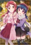 2018 2girls :d animal_hat bag bangs beret black_legwear black_skirt blue_hair blurry blush bokeh brown_hat cat_bag cat_hat clenched_hands commentary_request cover cover_page depth_of_field doujin_cover fur_collar grey_scarf hair_ornament hairclip half_updo hands_up hat hazuki_(sutasuta) highres holding_another's_arm holding_strap long_hair looking_at_viewer love_live! love_live!_sunshine!! multiple_girls open_mouth pantyhose pink_coat purple_coat red_shirt red_skirt redhead sakurauchi_riko scarf shirt shoulder_bag side_bun skirt smile thigh-highs tsushima_yoshiko turtleneck white_shirt winter_clothes