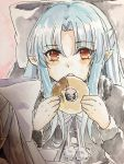 1girl :o blue_hair bow capelet doughnut eyebrows_visible_through_hair food fur_trim grey_bow grey_capelet grey_neckwear grey_ribbon hair_bow highres holding holding_food len long_hair long_sleeves looking_at_viewer neck_ribbon open_mouth photo pointy_ears red_eyes ribbon solo tanaji traditional_media tsukihime