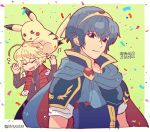 1girl armor blonde_hair blue_eyes blue_hair blush cape closed_eyes creatures_(company) fire_emblem fire_emblem:_monshou_no_nazo game_freak gen_1_pokemon headband highres jewelry kiriya_(552260) long_hair looking_at_viewer male_focus marth monado nintendo open_mouth pikachu pokemon pokemon_(creature) pokemon_(game) pokemon_rgby short_hair shulk simple_background smile super_smash_bros. super_smash_bros._ultimate tiara xenoblade_(series) xenoblade_1