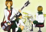 3girls black_eyes black_hair black_legwear breasts brown_hair closed_mouth commentary_request cymbals drum drum_set drumsticks electric_guitar from_behind green_sailor_collar green_skirt guitar hair_tie hi-hat holding holding_instrument holding_plectrum instrument kneehighs kneeling long_hair long_sleeves low_twintails medium_breasts multiple_girls neckerchief no_shoes on_stool original pantyhose pedal pleated_skirt plectrum profile red_neckwear sailor_collar saxophone school_uniform serafuku short_hair sitting skirt snare_drum standing stool twintails yellow_background yokotakumi