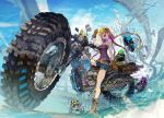 1girl :d bare_shoulders belt black_bra blonde_hair blue_sky boots bra braid breasts brown_gloves checkered checkered_flag city clouds demizu_posuka denim denim_shorts flag flying gloves ground_vehicle hair_ornament helmet high_heels long_hair looking_at_viewer motor_vehicle motorcycle multicolored_hair open_mouth original outdoors purple_hair riding shorts sitting sky sleeveless smile smoke star sweatdrop teeth tongue twin_braids two-tone_hair underwear very_long_hair violet_eyes