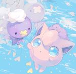 blue_background blue_eyes commentary_request creatures_(company) ditto drifloon flying game_freak gen_1_pokemon gen_4_pokemon hideko_(l33l3b) highres jigglypuff nintendo no_humans parted_lips pokemon pokemon_(creature)
