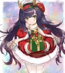 1girl animal_ears antlers bell beret blush commentary_request cowboy_shot eriyama_(user_csua4255) fake_animal_ears fur_trim gift green_eyes hair_ornament hat holly_hair_ornament kantai_collection long_hair looking_at_viewer matsuwa_(kantai_collection) pantyhose purple_hair reindeer_antlers santa_costume scarf smile solo white_legwear