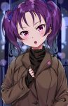 1girl bangs blurry blurry_background blush bow brown_coat brown_sweater chestnut_mouth coat depth_of_field duffel_coat earrings eyebrows_visible_through_hair gradient_hair hair_bow hand_up head_tilt highres jewelry kazuno_leah long_sleeves love_live! love_live!_sunshine!! multicolored_hair parted_bangs parted_lips purple_bow purple_hair ribbed_sweater round_teeth sleeves_past_wrists solo sweater teeth tem10 twintails upper_body upper_teeth violet_eyes