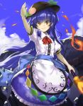 1girl arm_above_head arm_up bangs blue_hair blue_ribbon blue_sky clouds commentary dress embers fire food frilled_skirt frills fruit hair_between_eyes hat hinanawi_tenshi holding holding_weapon keystone layered_dress leaf light_smile long_hair looking_at_viewer neck_ribbon outdoors peach piyodesu puffy_short_sleeves puffy_sleeves red_eyes red_neckwear ribbon rope sash shimenawa short_sleeves skirt sky solo sword_of_hisou touhou very_long_hair weapon