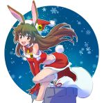1girl animal_ears bell brown_eyes brown_hair bunny_girl bunny_tail dress fur_trim hat highres iesupa long_hair rabbit_ears red_dress rwby sack santa_costume santa_hat solo tail velvet_scarlatina