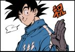 1boy =3 black_border black_eyes black_hair border close-up coat dragging dragon_ball dragon_ball_super dragon_ball_super_broly face gloves hand_up happy looking_to_the_side male_focus salute short_hair simple_background smile son_gokuu spiky_hair translation_request upper_body white_background winter_clothes winter_coat