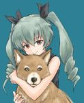1girl anchovy bangs black_ribbon black_shirt casual closed_mouth commentary dog dress drill_hair eyebrows_visible_through_hair girls_und_panzer green_background green_hair hair_ribbon hug hug_from_behind husky long_hair looking_at_viewer mutsu_(layergreen) red_eyes ribbon shirt sleeveless sleeveless_dress smile solo twin_drills twintails upper_body