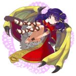 1girl capelet dragon_wings dress fire_emblem fire_emblem:_seima_no_kouseki full_body highres mamkute multi-tied_hair myrrh nintendo parted_lips peppedayo_ne purple_hair red_eyes sandals solo twintails wings wristband