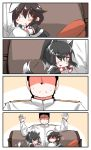 0_0 1boy 2girls 4koma :d animal_ears arms_up azur_lane bangs black_hair black_shirt black_skirt blush_stickers brown_hair chibi comic commentary_request couch eyebrows_visible_through_hair faceless faceless_male gloves hair_between_eyes hair_flaps hair_ornament high_ponytail highres jacket kantai_collection long_sleeves military_jacket multiple_girls namesake on_couch open_mouth parted_lips pillow pleated_skirt ponytail shigure_(azur_lane) shigure_(kantai_collection) shirt short_sleeves silent_comic sitting skirt smile tail white_gloves white_jacket wolf_ears wolf_girl wolf_tail wristband yagami_kamiya
