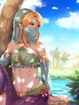1boy arabian_clothes bare_shoulders blonde_hair blue_eyes blue_sky bridal_gauntlets circlet clouds collarbone crossdressing day desert eyebrows_visible_through_hair gerudo_link glint harem_pants haru_(nakajou-28) link medium_hair midriff navel nintendo palm_tree pants pointy_ears purple_pants see-through sitting sky solo sparkle the_legend_of_zelda the_legend_of_zelda:_breath_of_the_wild trap tree water