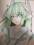1girl closed_mouth commentary_request eyebrows_visible_through_hair fate/grand_order fate_(series) green_hair grey_eyes hair_between_eyes highres horn_ornament horns japanese_clothes kimono kiyohime_(fate/grand_order) long_hair looking_at_viewer photo smile solo tanaji traditional_media upper_body