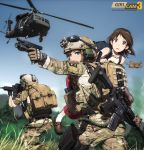 3girls action aircraft ammunition armor assault_rifle bag blonde_hair blue_eyes boots brown_eyes brown_hair camouflage carrying_over_shoulder glasses glock gloves gun handgun headband heckler_&_koch helicopter helmet highres hk416 holding holding_gun holding_weapon load_bearing_vest looking_at_viewer m4_carbine magazine_(weapon) military military_operator military_uniform military_vehicle multiple_girls ocp_(camo) original person_carrying rifle short_hair soldier stuffed_animal stuffed_toy tantu_(tc1995) teddy_bear uh-60_blackhawk uniform us_air_force watch watch weapon weapon_on_back