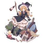 1girl :d aibivy black_coat black_footwear black_gloves black_hat blonde_hair bow braid broom buttons candle floating gloves hair_ribbon hat hat_bow highres house kirisame_magic_shop kirisame_marisa lantern long_sleeves mushroom observatory open_mouth purple_bow ribbon side_braid single_braid skirt smile snail solo star touhou tree tress_ribbon white_skirt witch_hat yellow_eyes