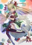 1girl :o ahoge animal_ears arm_belt atalanta_(fate) bell black_footwear blonde_hair boots box commentary_request fang fate/grand_order fate_(series) fur_trim gift gift_box gradient_hair green_eyes green_hair highres long_hair looking_at_viewer mittens miyuki_ruria multicolored_hair pom_pom_(clothes) puffy_short_sleeves puffy_sleeves sack short_sleeves solo tail tail_bell thigh-highs thigh_boots