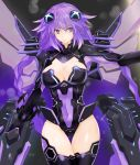 1girl absurdres blue_eyes braid breasts cleavage cleavage_cutout commentary_request covered_navel cowboy_shot hair_between_eyes hair_ornament highres hips large_breasts leotard long_hair looking_at_viewer mechanical_wings neptune_(series) outstretched_arm power_symbol purple_hair purple_heart serious shishin_(shishintei) skin_tight solo symbol-shaped_pupils thigh-highs thigh_gap thighs twin_braids twintails very_long_hair wings