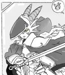 1girl alternate_costume animal_ears cape commentary commentary_request dragon_(monster_girl_encyclopedia) english_commentary grey_background greyscale head_fins helmet holding holding_sword holding_weapon horns latenight looking_at_viewer monochrome monster_girl_encyclopedia parted_lips shoulder_armor solo spaulders spot_color sword upper_body weapon yellow_eyes