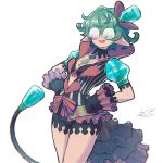1girl :d black_bra black_gloves blurry blurry_foreground bra breasts copyright_request cowboy_shot depth_of_field glasses gloves hands_on_hips hat jewelry necklace nintendo opaque_glasses open_mouth pointy_ears puffy_short_sleeves puffy_sleeves reiesu_(reis) saika_(xenoblade) short_hair short_sleeves showgirl_skirt signature simple_background small_breasts smile solo standing tail underwear white_background xenoblade_(series) xenoblade_2