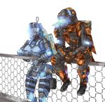 1boy 1girl backpack bag fence gloves helmet highres humanoid_robot kotone_a looking_down looking_to_the_side orange_gloves orange_scarf pilot_(titanfall_2) scarf science_fiction simulacrum_(titanfall) sitting titanfall_(series) titanfall_2 white_background