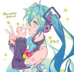 1girl :d bangs bare_shoulders blue_eyes blue_hair blue_neckwear blush bow bowtie bright_pupils commentary_request crossed_bangs detached_sleeves fingernails hair_between_eyes hands_up hatsune_miku long_hair nail_polish open_mouth simple_background smile solo star twintails v vocaloid white_background white_nails yamakawa