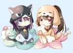 2girls animal_costume animal_ears animal_hood bangs bell blue_background blush brown_hair cartoon_bone cat_costume cat_ears cat_girl cat_hood cat_tail chibi closed_mouth commentary_request covered_mouth dog_costume dog_ears dog_girl dog_hood dog_tail eyebrows_visible_through_hair hair_between_eyes hair_through_headwear high_ponytail highres hood hood_up jingle_bell long_hair multiple_girls original ponytail red_eyes shiro_kuma_shake sidelocks sitting smile stuffed_animal stuffed_fish stuffed_toy tail very_long_hair