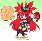 1girl asymmetrical_gloves bat_wings bikini chibi demon_tail disgaea etna food fork fruit gloves halloween hat hekaton long_hair pointy_ears red_eyes redhead shoes solo standing strawberry swimsuit tail thigh-highs very_long_hair winged_shoes wings witch_hat