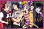 2boys akaashi_keiji animal_ears bell black_choker black_hair black_nails blood buttons candy cat_ears cat_tail choker fang food grey_hair haikyuu!! halloween_costume happy_halloween hat highres jingle_bell lollipop long_sleeves mole mole_under_eye moon multiple_boys nail_polish navel police police_hat police_uniform pumpkin ringo_aneki smile sugawara_koushi tail tongue tongue_out twitter_username uniform vampire_costume wolf_ears wolf_tail yellow_eyes zombie