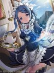 1girl blue_eyes blue_hair blue_sky candle closed_mouth clouds company_name copyright_name cup fire_emblem fire_emblem_cipher fire_emblem_if flora_(fire_emblem_if) gem holding holding_plate juliet_sleeves kei_s01 long_sleeves maid maid_headdress mountain nintendo official_art open_window plate puffy_sleeves sky smile solo teacup teapot thigh-highs twintails window zettai_ryouiki