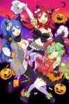 3girls :d animal_ears bandanna bangs belt black_bow black_skirt blue_bandana blue_eyes blue_hair bow breasts candy cat_ears cleavage closed_mouth commentary_request copyright_request crescent_moon crop_top dog_ears food gloves gradient_sky green_eyes green_hair hair_bow halloween halloween_costume hand_up highres jack-o'-lantern lollipop long_hair long_sleeves looking_at_viewer medium_breasts midriff moon multiple_girls navel open_mouth pantyhose paw_gloves paws ponytail puffy_short_sleeves puffy_sleeves red_bandana red_eyes red_sky redhead short_sleeves skirt sky smile sogawa stuffed_animal stuffed_toy teddy_bear thigh-highs white_legwear yellow_bow