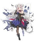 1girl :d animal bare_shoulders bat black_footwear black_gloves black_nails blue_dress blue_eyes boots brown_legwear bxr chains dated demon_horns demon_tail double_bun dress earrings elbow_gloves fang fingernails ghost girls_frontline gloves hand_up head_tilt heterochromia highres horns jewelry long_hair mdr_(girls_frontline) nail_polish open_mouth pantyhose pointy_ears red_eyes side_bun silver_hair single_elbow_glove single_glove smile solo tail very_long_hair white_background