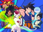 3llo_3 4boys :o aiming_at_viewer anger_vein annoyed aqua_background armor attacking_viewer black_eyes black_hair blue_background broly_(dragon_ball_super) crossed_arms day dougi dragon_ball dragon_ball_super dragon_ball_super_broly dragonball_z energy energy_beam english fighting_stance fingernails frieza frown gloves green_eyes hand_behind_head hand_up index_finger_raised looking_away looking_back male_focus motion_lines multiple_boys nervous_smile onomatopoeia open_mouth outdoors outside_border outstretched_hand polka_dot polka_dot_background red_eyes see-through serious short_hair simple_background sky smile son_gokuu speech_bubble spiky_hair standing sweatdrop tail text_focus upper_body vegeta wristband