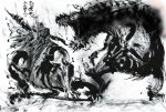 all_fours commentary_request deviljho dinosaur dragon full_body fur highres horns ink_wash_painting looking_at_another monkey monster monster_hunter no_humans open_mouth rajang roaring smith_syuei standing sumi-e traditional_media