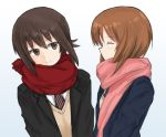 2girls alternate_costume bangs black_jacket blazer blue_jacket brown_eyes brown_hair brown_sweater closed_mouth commentary diagonal-striped_neckwear facing_another from_side girls_und_panzer grey_background jacket leaning_to_the_side long_sleeves looking_at_another multiple_girls mutsu_(layergreen) necktie nishizumi_maho nishizumi_miho pink_scarf red_neckwear red_scarf scarf school_uniform shirt short_hair siblings sisters smile standing sweater upper_body v-neck white_shirt winter_clothes
