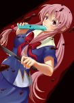 1girl blood bloody_weapon blue_shirt blue_skirt blush bow bowtie cellphone flip_phone gasai_yuno hair_between_eyes hair_bow holding holding_knife holding_phone knife long_hair mirai_nikki murata_isshin parted_lips phone pink_hair red_bow red_eyes red_neckwear sailor_collar school_uniform serafuku shirt short_sleeves skirt solo twintails very_long_hair weapon white_sailor_collar
