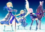 3girls ahoge armor armored_boots armored_dress armored_leotard artoria_pendragon_(all) banner bent_over black_legwear black_leotard blonde_hair blue_dress blue_eyes blue_ribbon blue_sky boots braid braided_ponytail breasts breasts_apart dress elbow_gloves eyebrows_visible_through_hair fate_(series) faulds full_body gauntlets gloves hair_over_one_eye hair_ribbon hand_on_own_knee hands_on_hilt headpiece holding holding_shield jeanne_d'arc_(fate) jeanne_d'arc_(fate)_(all) leotard long_hair looking_at_viewer mash_kyrielight medium_breasts multiple_girls noriccho! outdoors pink_eyes pink_hair pixiv_fate/grand_order_contest_2 purple_gloves ribbon saber sheath sheathed shield shiny shiny_hair short_hair single_braid sky standing sword thigh-highs thigh_boots very_long_hair weapon