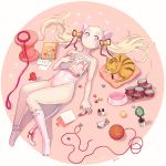 1girl animal_ears artist_name asymmetrical_legwear bell book brk cat cat_ears cat_food cat_tail covered_navel crayon envelope jingle_bell leash leash_removed leotard lying marble nail_polish on_back open_book original paw_print pillow pink_background pink_eyes pink_legwear pink_leotard solo tail twintails winding_key yarn