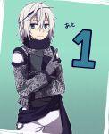 1boy blue_eyes chains highres nier nier_(series) nier_(young) silver_hair solo tamakingx422x upper_body