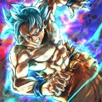 1boy aqua_eyes aura blue_background clenched_hand dragon_ball dragon_ball_super dutch_angle fighting_stance frown grey_hair grin looking_at_viewer male_focus multicolored multicolored_background nipples purple_background red_background shirtless short_hair smile son_gokuu spiky_hair st62svnexilf2p9 torn_clothes ultra_instinct veins wristband