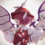 1girl backlighting blush commentary_request feathered_wings fingernails green_nails hat highres long_fingernails looking_away looking_to_the_side mystia_lorelei nail_polish nose open_mouth pink_hair profile red_eyes short_hair smile solo takami_masahiro teeth touhou upper_body white_wings wings