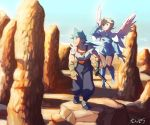 1boy 1girl angel_wings blonde_hair blue_footwear boots breasts breath_of_fire breath_of_fire_iv capcom commentary_request dress hairband jewelry knee_boots long_hair nanpou_(nanpou0021) necklace nina_(breath_of_fire_iv) outdoors pantyhose ryuu_(breath_of_fire_iv) short_hair skirt smile sword weapon white_wings wings