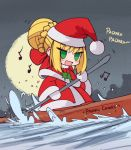 1girl :d beamed_eighth_notes blonde_hair blush boat bow canoe capelet ceroblitz chibi christmas commentary dress eighth_note english english_commentary eyebrows_visible_through_hair fate/extra fate_(series) green_eyes hair_bun hat highres long_hair long_sleeves looking_at_viewer meme moon music musical_note nero_claudius_(fate) nero_claudius_(fate)_(all) night open_mouth outdoors padoru red_bow romaji santa_costume santa_hat singing sky smile solo water watercraft