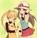 2girls artist_request bare_shoulders blonde_hair blue_(pokemon) blue_eyes blush brown_hair chuchu_(pokemon) closed_eyes flower hair_flower hair_ornament hand_on_hat happy hat holding long_hair lowres multiple_girls no_hat no_headwear open_mouth payot pikachu pokemon pokemon_(creature) pokemon_special ponytail porkpie_hat skirt sleeveless smile turtleneck wristband yellow_(pokemon)