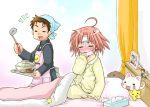 apron bed curtains cute kogami_akira ladle lucky_star mask pajamas pink_hair polka_dot servant shiraishi_minoru short_hair sick stuffed_animal stuffed_toy surgical_mask ubizo